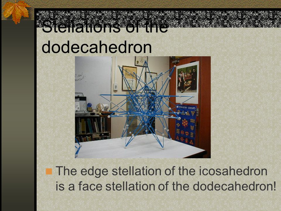 Stellations of the dodecahedron The edge stellation of the icosahedron is a face stellation of the dodecahedron!