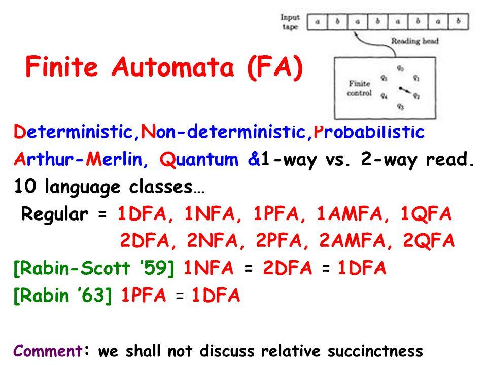 Deterministic,Non-deterministic,Probabilistic Arthur-Merlin, Quantum &1-way vs.
