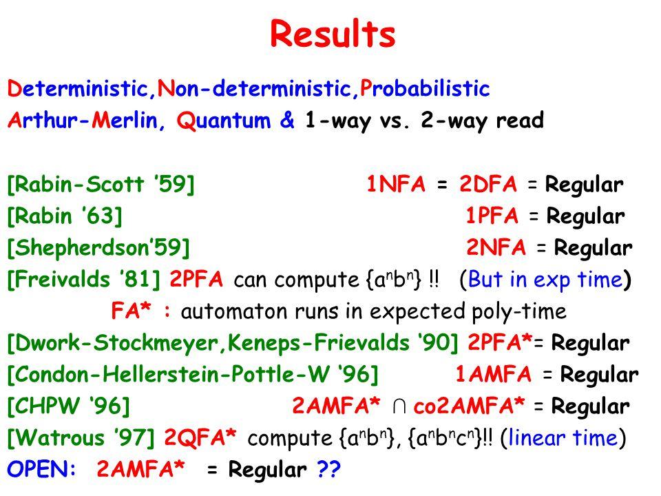 Deterministic,Non-deterministic,Probabilistic Arthur-Merlin, Quantum & 1-way vs.