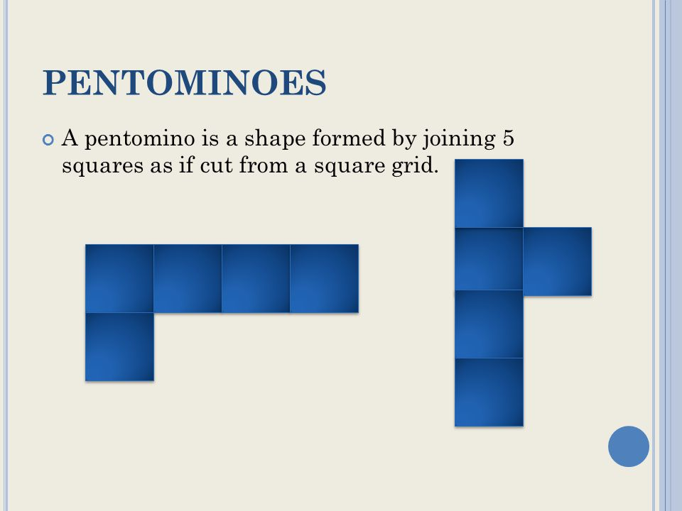 PENTOMINOES A pentomino is a shape formed by joining 5 squares as if cut from a square grid.