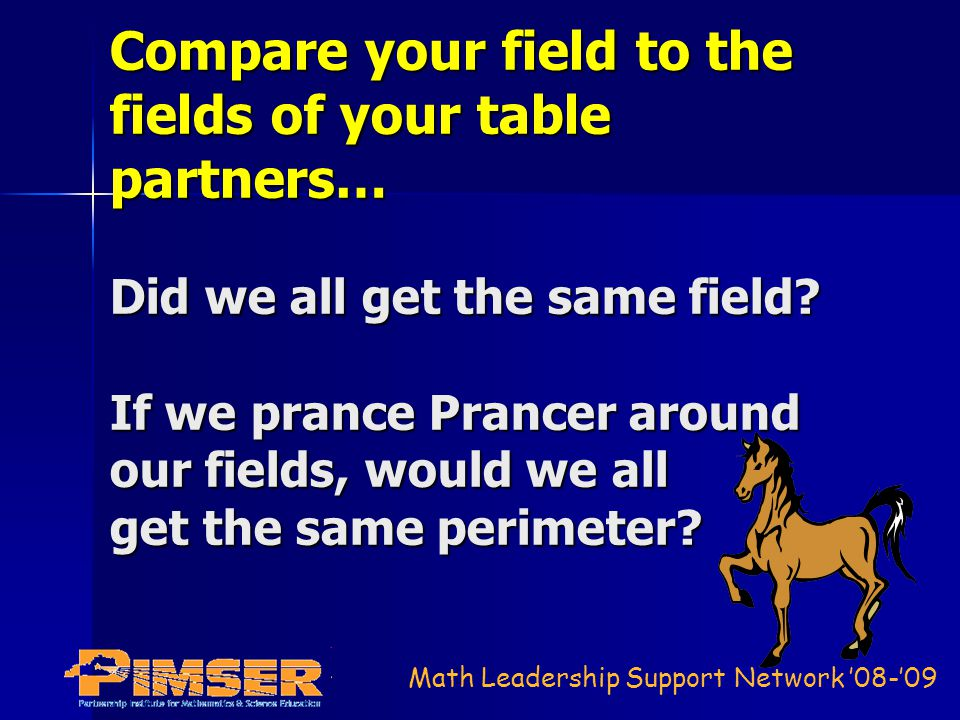 Math Leadership Support Network 08-09 Compare your field to the fields of your table partners… Did we all get the same field? If we prance Prancer aro