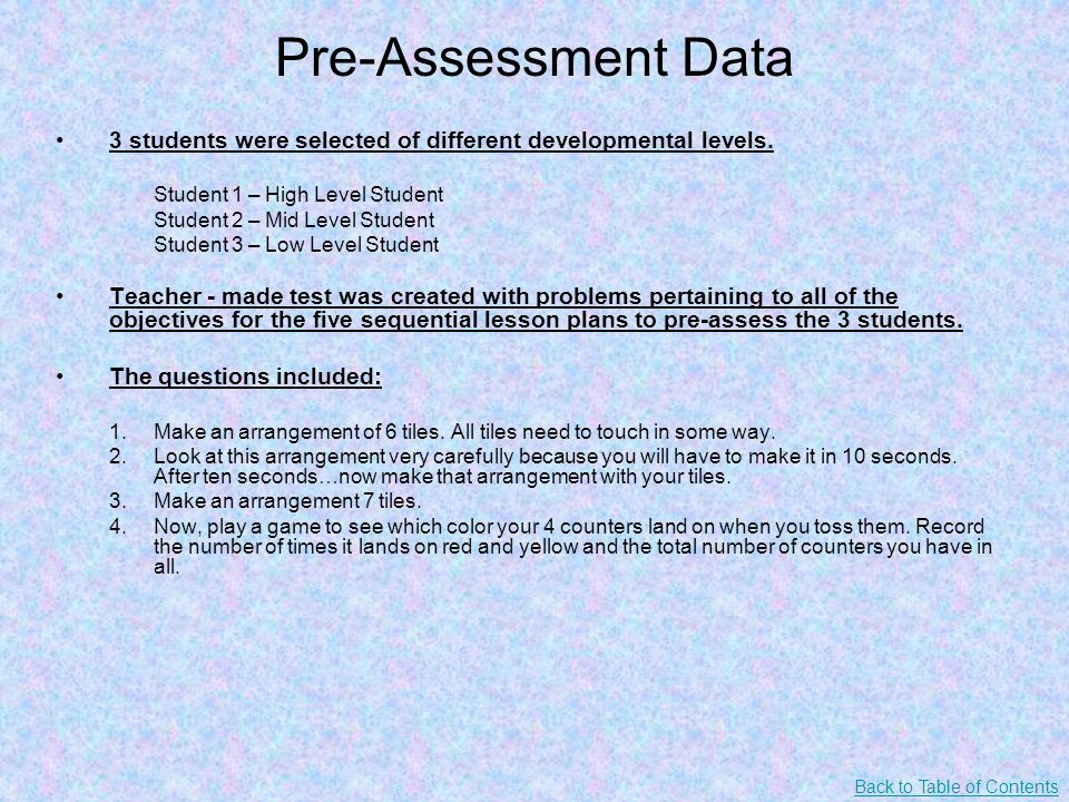Pre-Assessment Data 3 students were selected of different developmental levels.