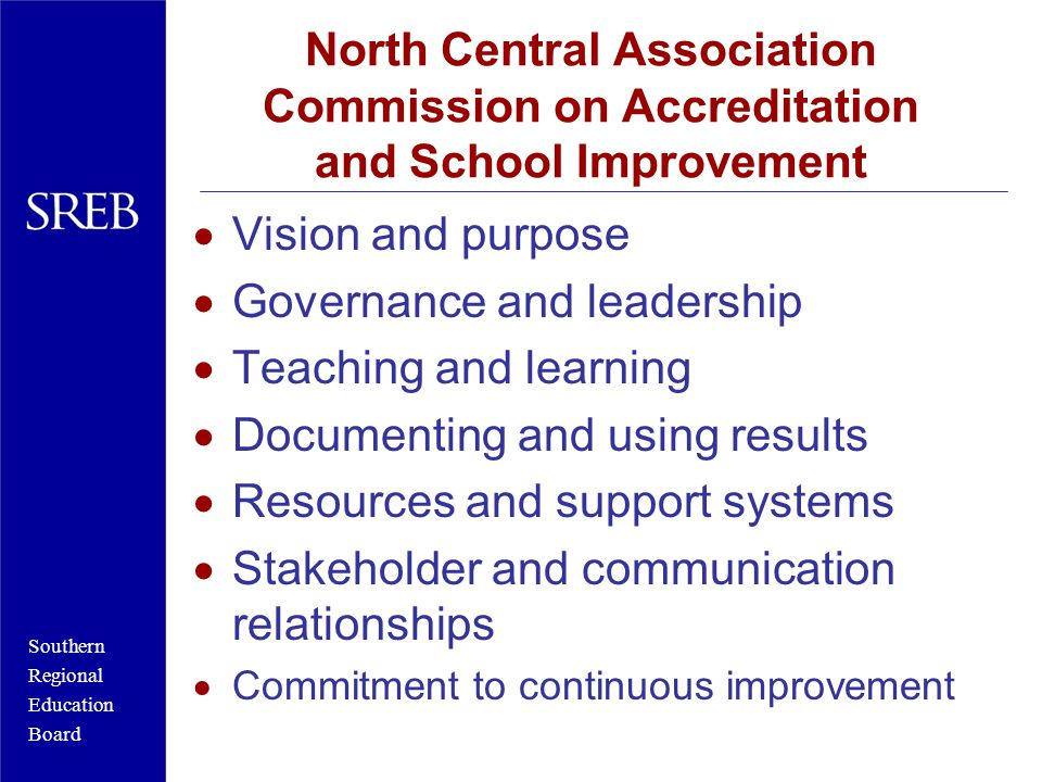 Southern Regional Education Board Nebraska Accreditation Requirements Mission/vision statement Collect and analyze data Improvement goals Develop and implement a plan Evaluate progress toward improvement goals