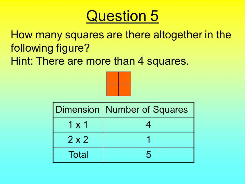 Question 5 How many squares are there altogether in the following figure.