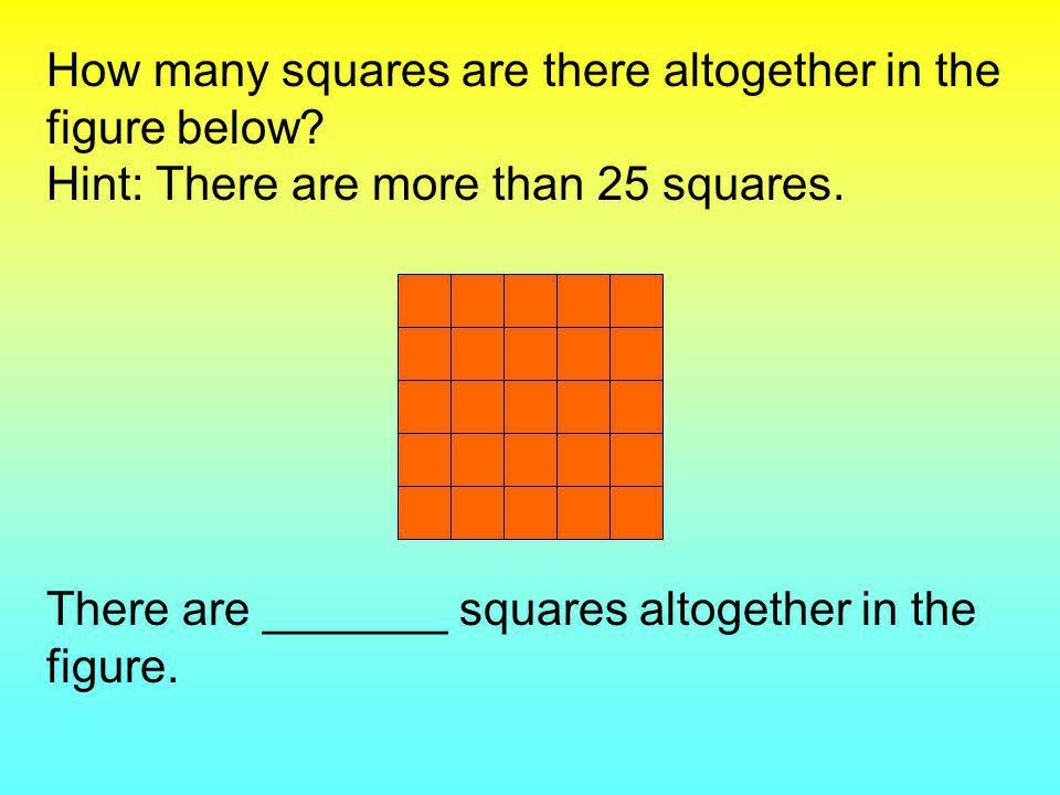 How many squares are there altogether in the figure below.