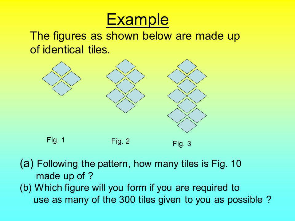 Solution (a)The figures as shown follow this pattern : 4, 7 ( 4 + 3 ), 10 ( 7 + 3 ),..