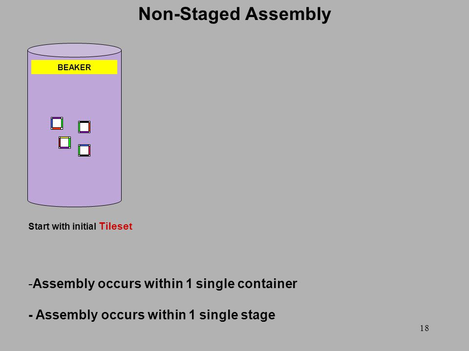 18 BEAKER Start with initial Tileset Non-Staged Assembly -Assembly occurs within 1 single container - Assembly occurs within 1 single stage