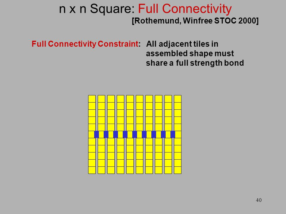 40 n x n Square: Full Connectivity Full Connectivity Constraint: All adjacent tiles in assembled shape must share a full strength bond [Rothemund, Winfree STOC 2000]