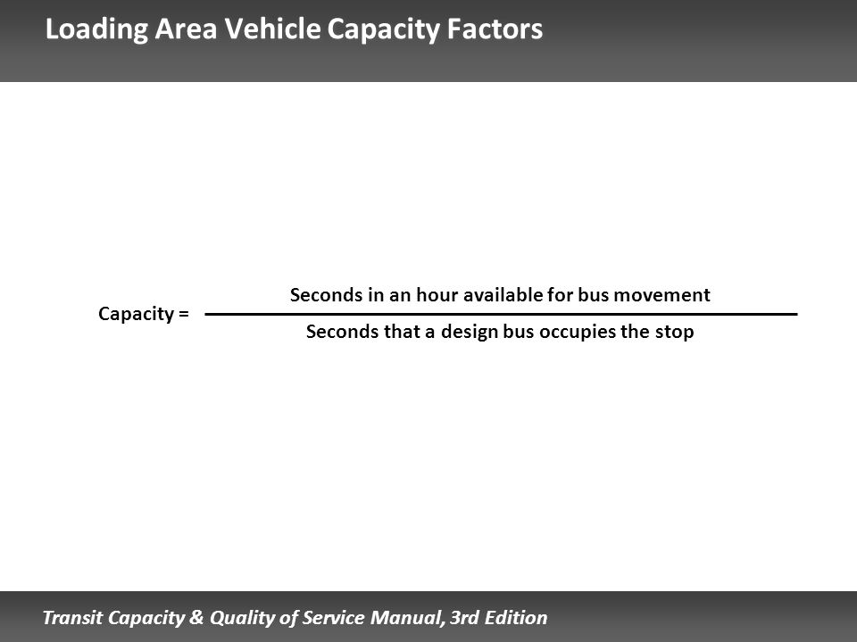 Transit Capacity & Quality of Service Manual, 3rd Edition Loading Area Vehicle Capacity Factors Seconds in an hour available for bus movement Seconds