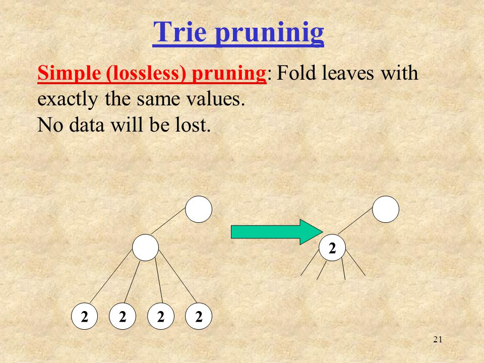 21 Trie pruninig 2222 2 Simple (lossless) pruning: Fold leaves with exactly the same values.