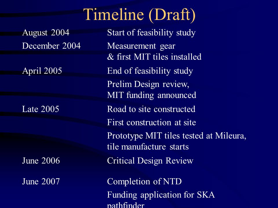 Timeline (Draft) August 2004 December 2004 Start of feasibility study Measurement gear & first MIT tiles installed April 2005End of feasibility study Prelim Design review, MIT funding announced Late 2005Road to site constructed First construction at site Prototype MIT tiles tested at Mileura, tile manufacture starts June 2006Critical Design Review June 2007Completion of NTD Funding application for SKA pathfinder