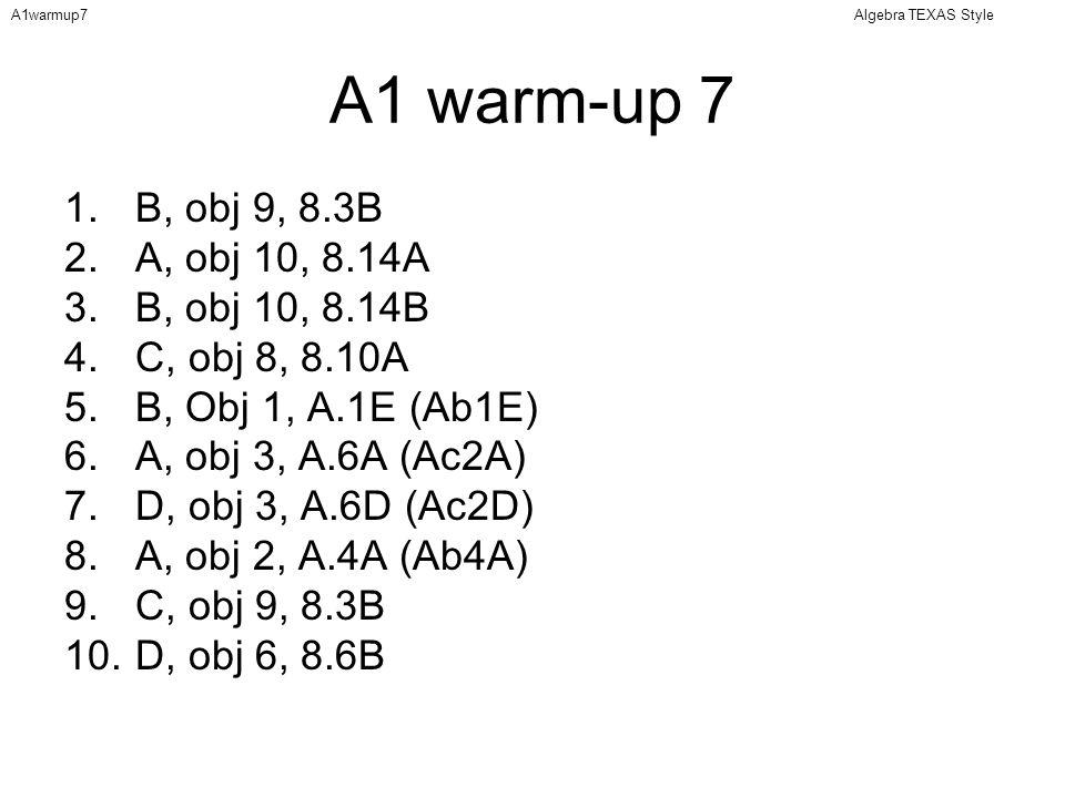 Algebra TEXAS StyleA1warmup7