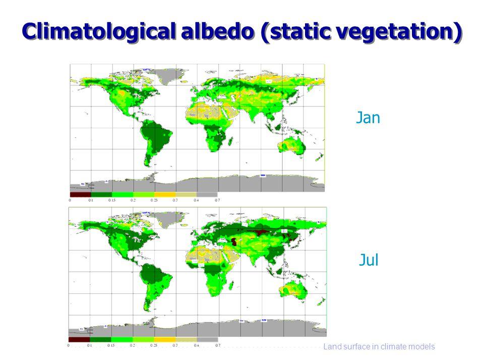 Land surface in climate models Climatological albedo (static vegetation) Jan Jul