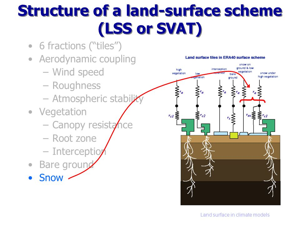 Land surface in climate models Structure of a land-surface scheme (LSS or SVAT) 6 fractions (tiles) Aerodynamic coupling –Wind speed –Roughness –Atmospheric stability Vegetation –Canopy resistance –Root zone –Interception Bare ground Snow