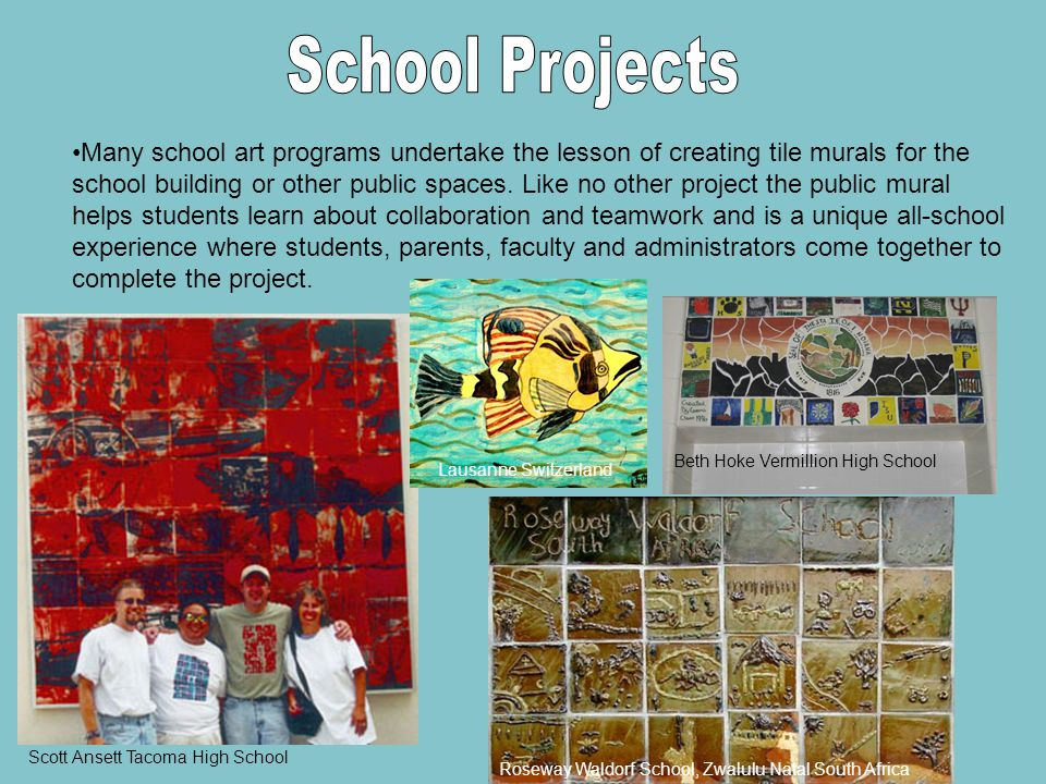 Many school art programs undertake the lesson of creating tile murals for the school building or other public spaces.