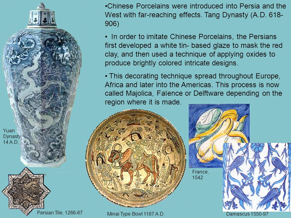 Chinese Porcelains were introduced into Persia and the West with far-reaching effects.