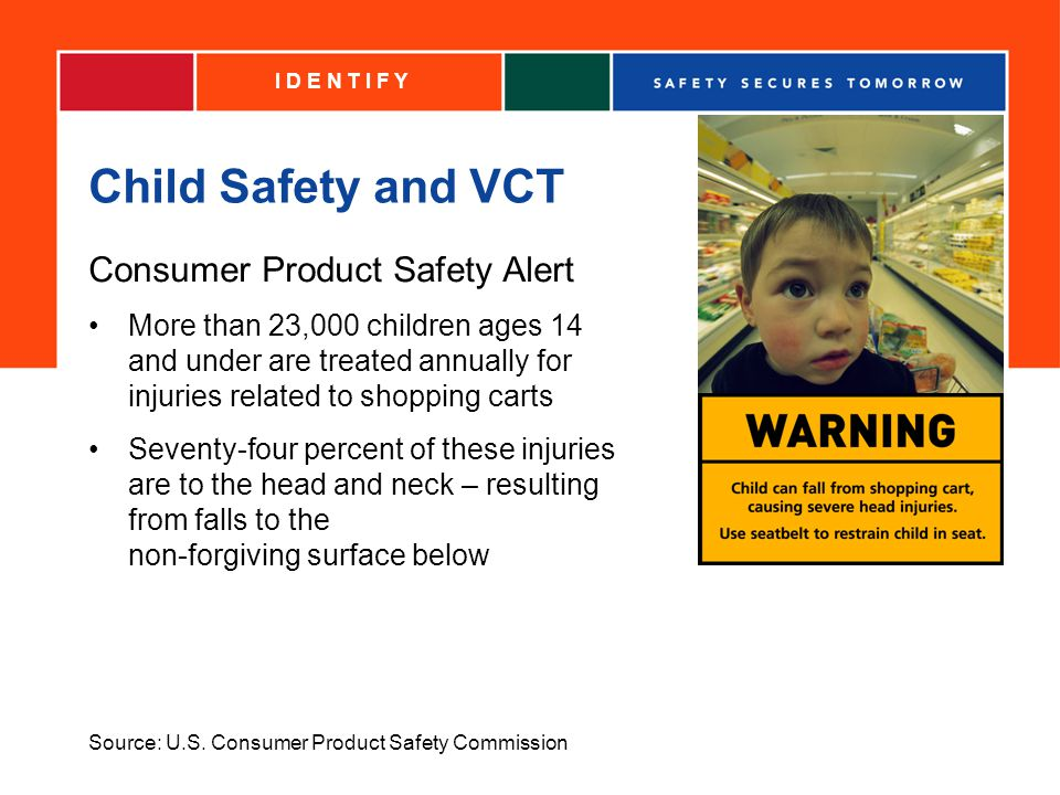 Child Safety and VCT Consumer Product Safety Alert More than 23,000 children ages 14 and under are treated annually for injuries related to shopping carts Seventy-four percent of these injuries are to the head and neck – resulting from falls to the non-forgiving surface below I D E N T I F Y Source: U.S.