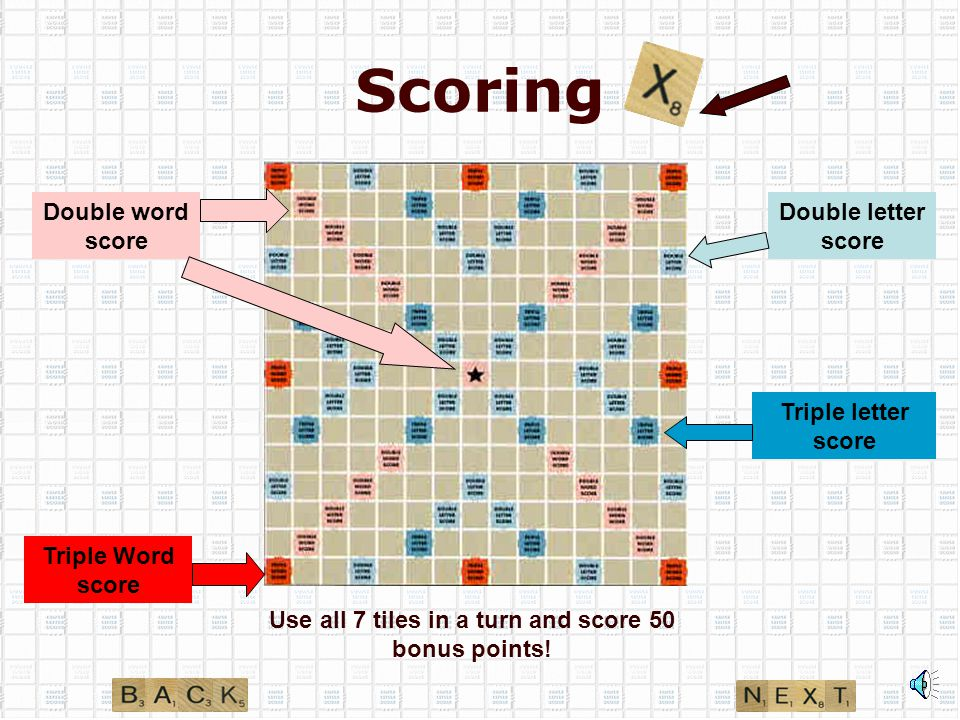 When does it end? All tiles have been drawn One of the players has used all letters on rack Win the game by achieving highest score Remaining tiles co