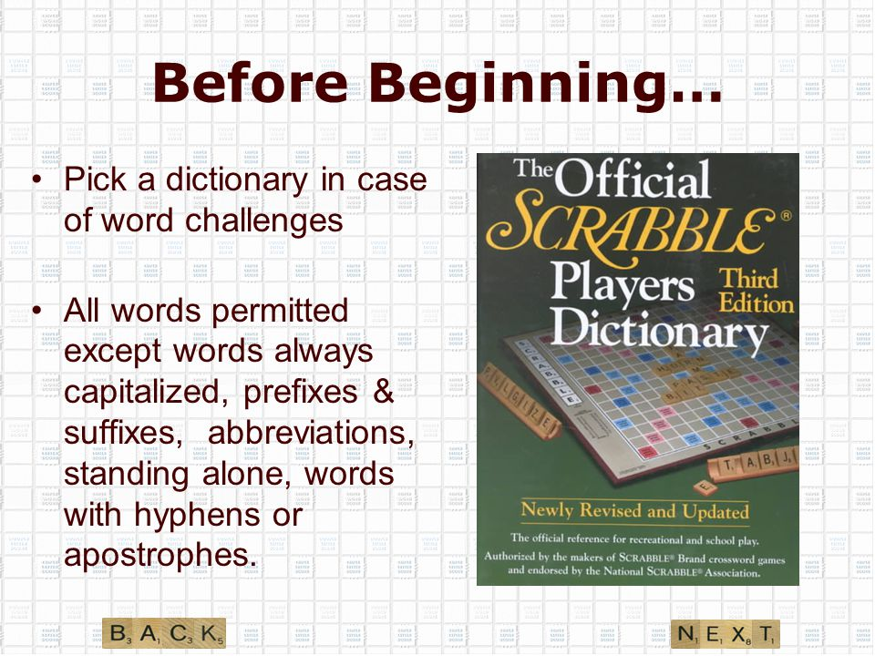 Before Beginning… Pick a dictionary in case of word challenges All words permitted except words always capitalized, prefixes & suffixes, abbreviations, standing alone, words with hyphens or apostrophes.