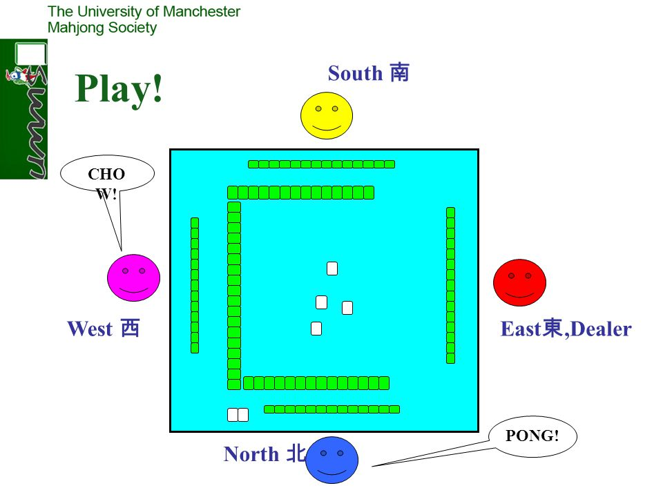 East,Dealer South West North CHO W! PONG! Play!