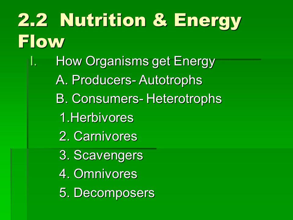 2.2 Nutrition & Energy Flow I.How Organisms get Energy A. Producers- Autotrophs B. Consumers- Heterotrophs 1.Herbivores 2. Carnivores 3. Scavengers 4.