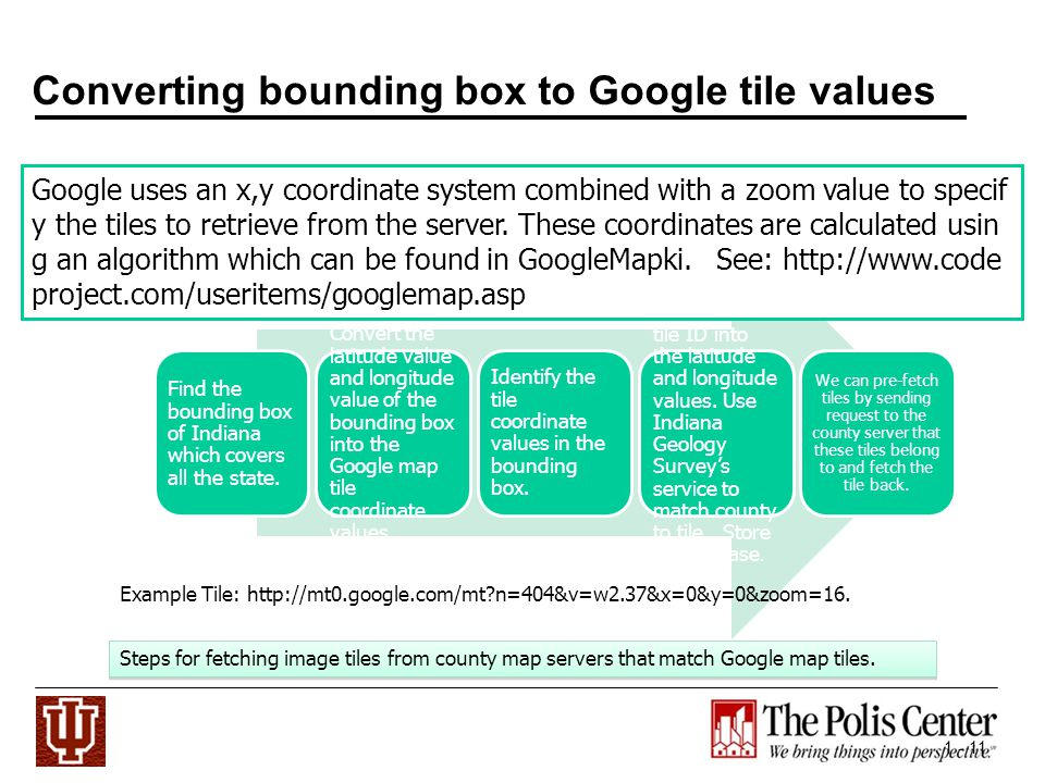 1 - 11 Converting bounding box to Google tile values Find the bounding box of Indiana which covers all the state.