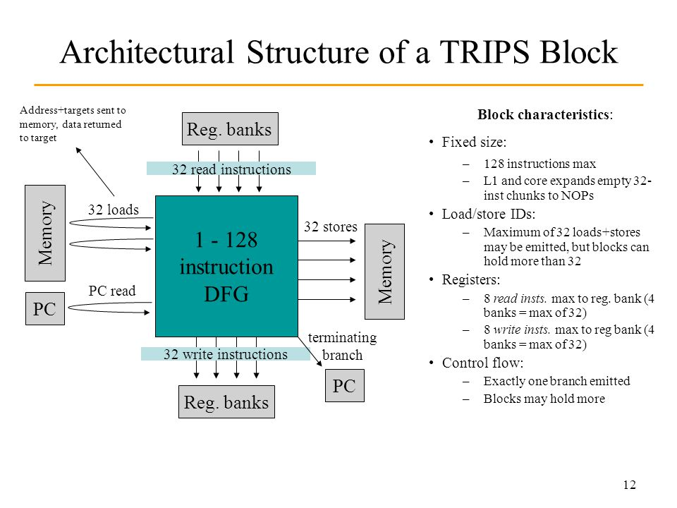 12 Architectural Structure of a TRIPS Block 1 - 128 instruction DFG Reg.