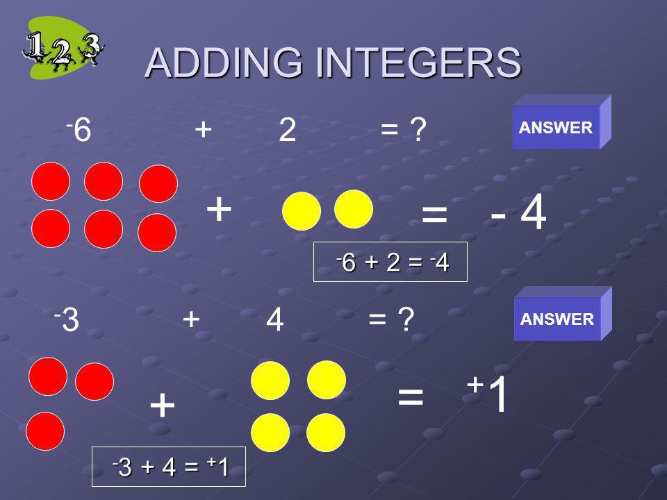 ADDING INTEGERS - 6 + 2 = ? + = - 4 + = +1+1 - 3 + 4 = ? ANSWER - 6 + 2 = - 4 - 3 + 4 = + 1