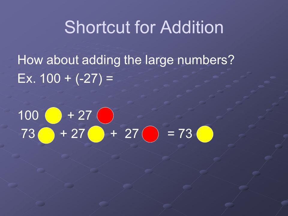 Shortcut for Addition How about adding the large numbers? Ex. 100 + (-27) = 100 + 27 73 + 27 + 27 = 73