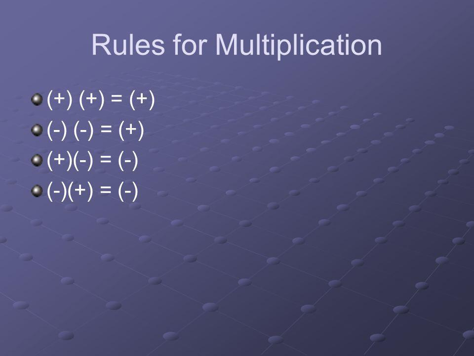 Rules for Multiplication (+) (+) = (+) (-) (-) = (+) (+)(-) = (-) (-)(+) = (-)