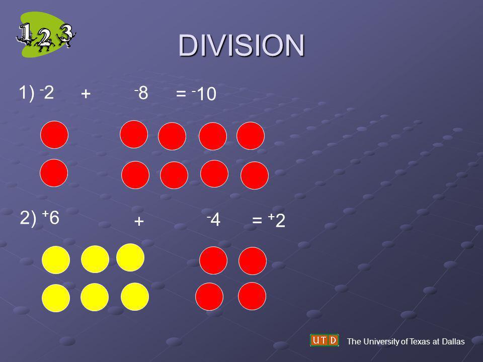 DIVISION The University of Texas at Dallas 1) - 2 + -8-8 = - 10 2) + 6 + -4-4 = + 2