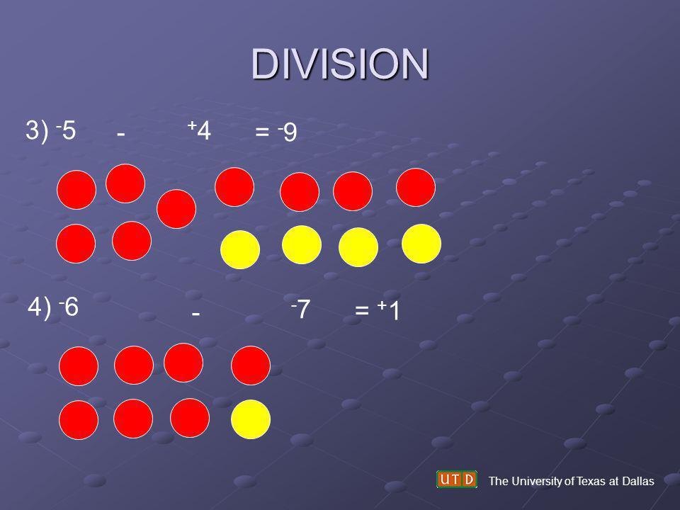 DIVISION The University of Texas at Dallas 3) - 5 - +4+4 = - 9 4) - 6 - -7-7 = + 1