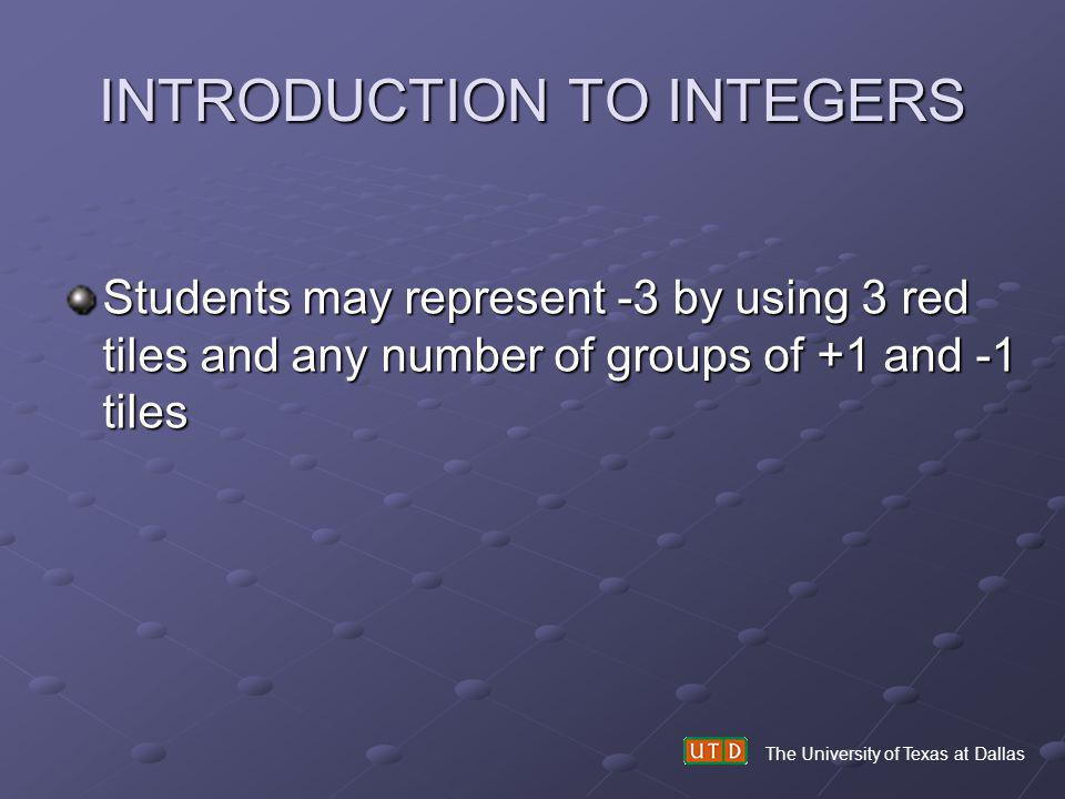 The University of Texas at Dallas INTRODUCTION TO INTEGERS Students may represent -3 by using 3 red tiles and any number of groups of +1 and -1 tiles