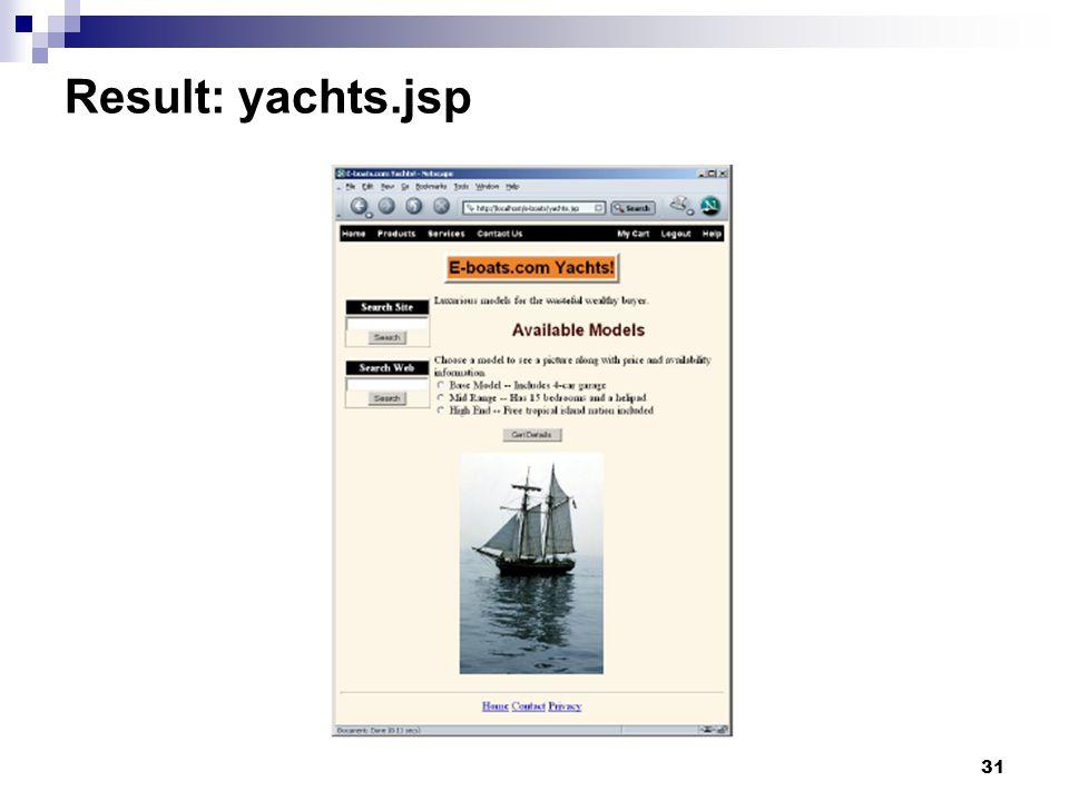 31 Result: yachts.jsp