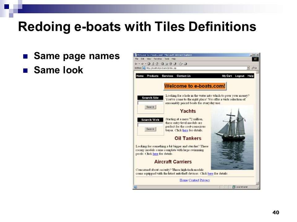 40 Redoing e-boats with Tiles Definitions Same page names Same look