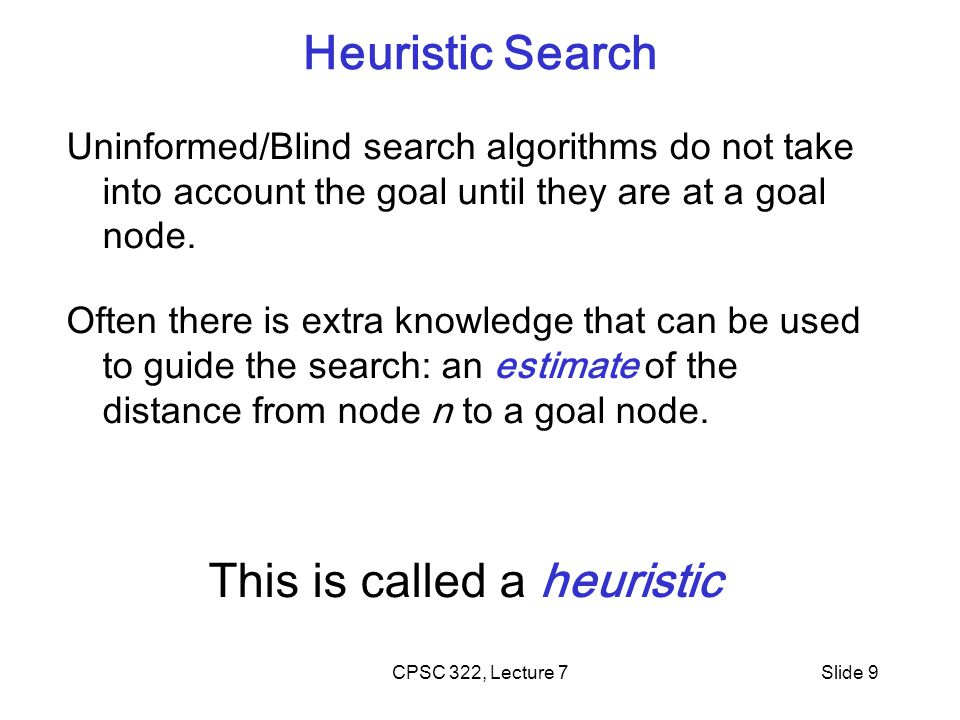 CPSC 322, Lecture 7Slide 9 Uninformed/Blind search algorithms do not take into account the goal until they are at a goal node.