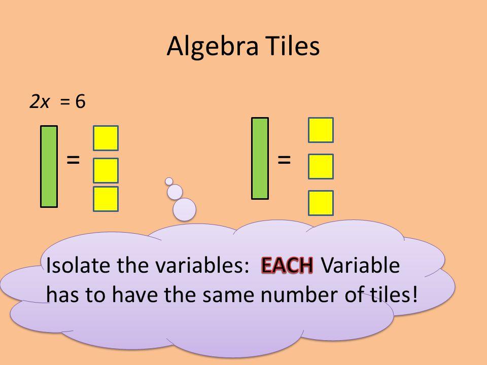 Algebra Tiles 2x = 6 ==