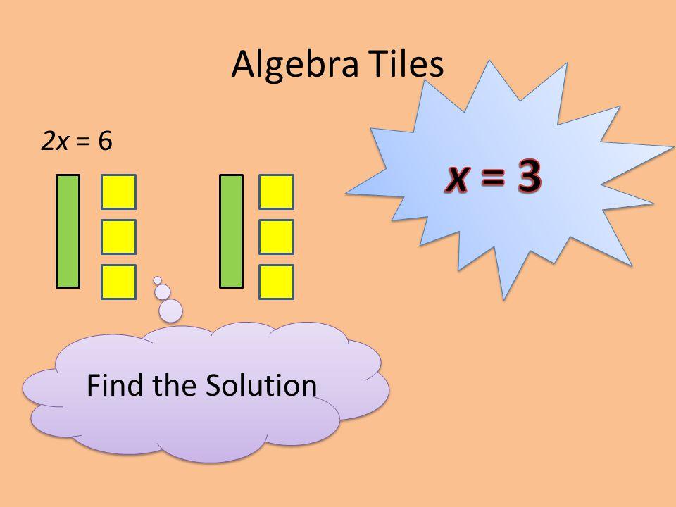 Algebra Tiles 2x = 6 Find the Solution