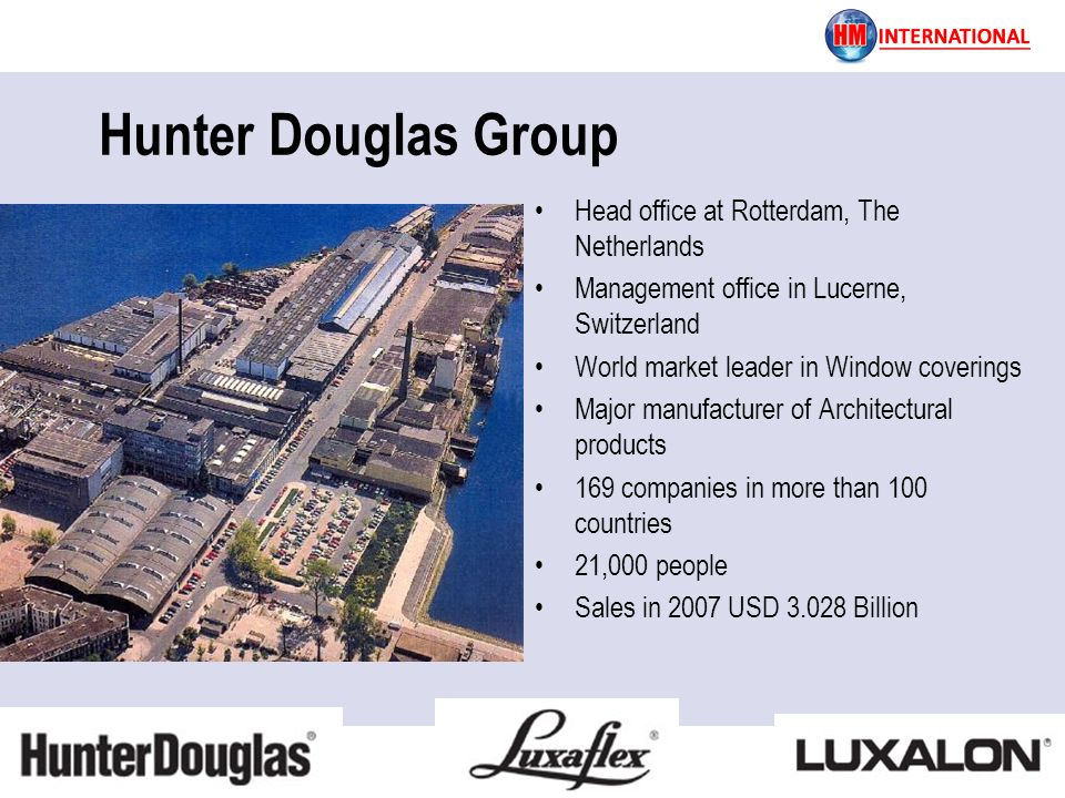 Hunter Douglas Group Head office at Rotterdam, The Netherlands Management office in Lucerne, Switzerland World market leader in Window coverings Major manufacturer of Architectural products 169 companies in more than 100 countries 21,000 people Sales in 2007 USD 3.028 Billion