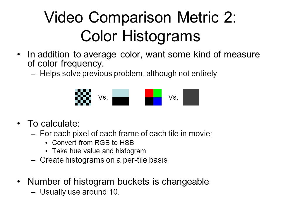 In addition to average color, want some kind of measure of color frequency.