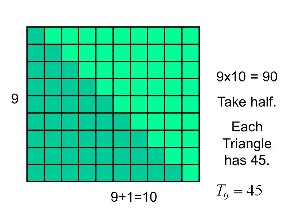 9 9+1=10 9x10 = 90 Take half. Each Triangle has 45.