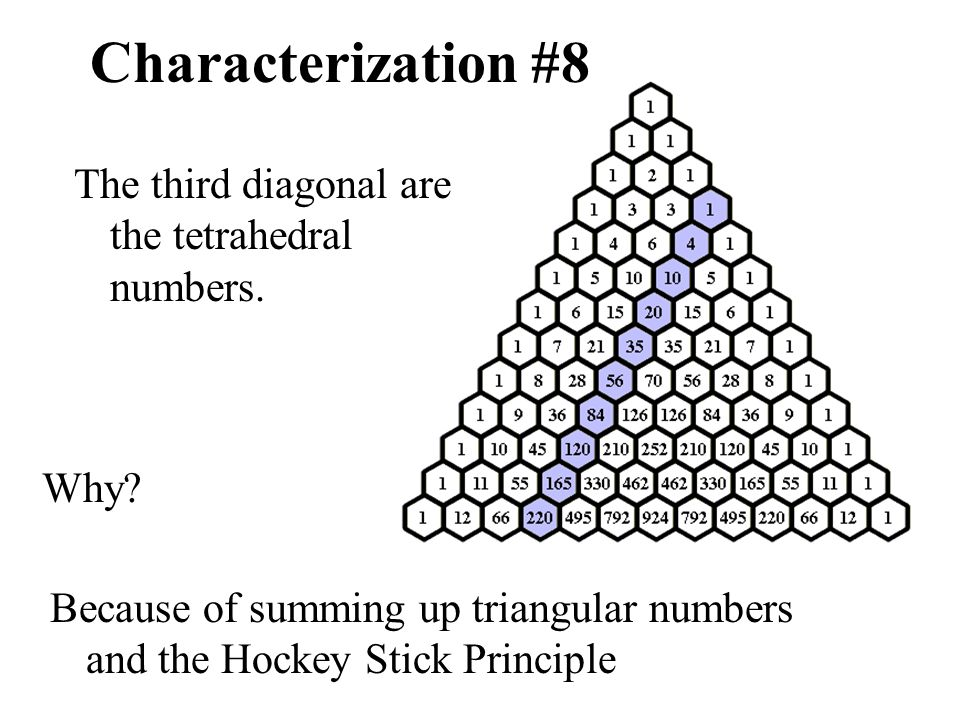 Characterization #8 The third diagonal are the tetrahedral numbers. Why? Because of summing up triangular numbers and the Hockey Stick Principle
