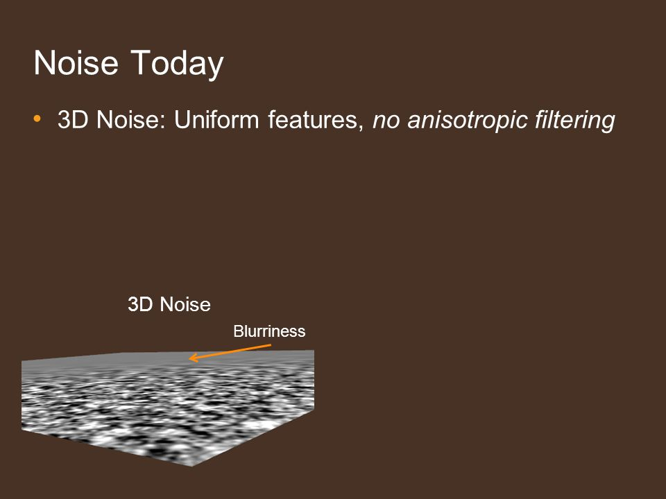 Noise Today 3D Noise: Uniform features, no anisotropic filtering 3D Noise Blurriness