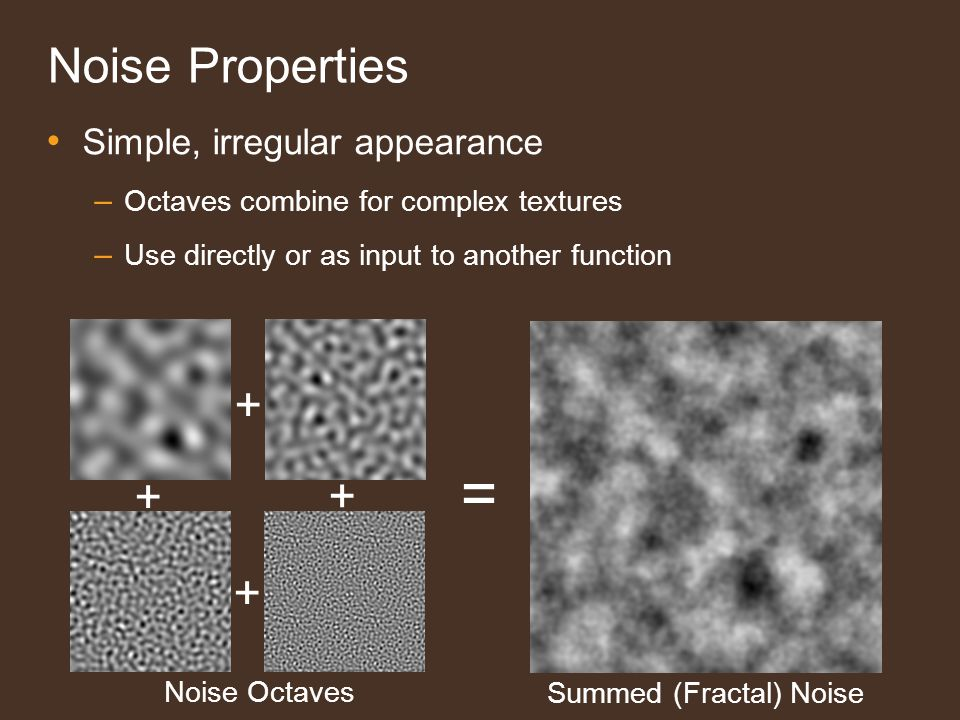 Steerable Noise 19 No Fourier / Inverse Transform at runtime Tile frequency ranges known in advance Output is a linear blend of spatial noise tiles
