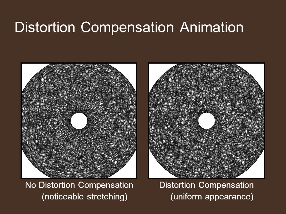 Distortion Compensation Animation Distortion Compensation (uniform appearance) No Distortion Compensation (noticeable stretching)