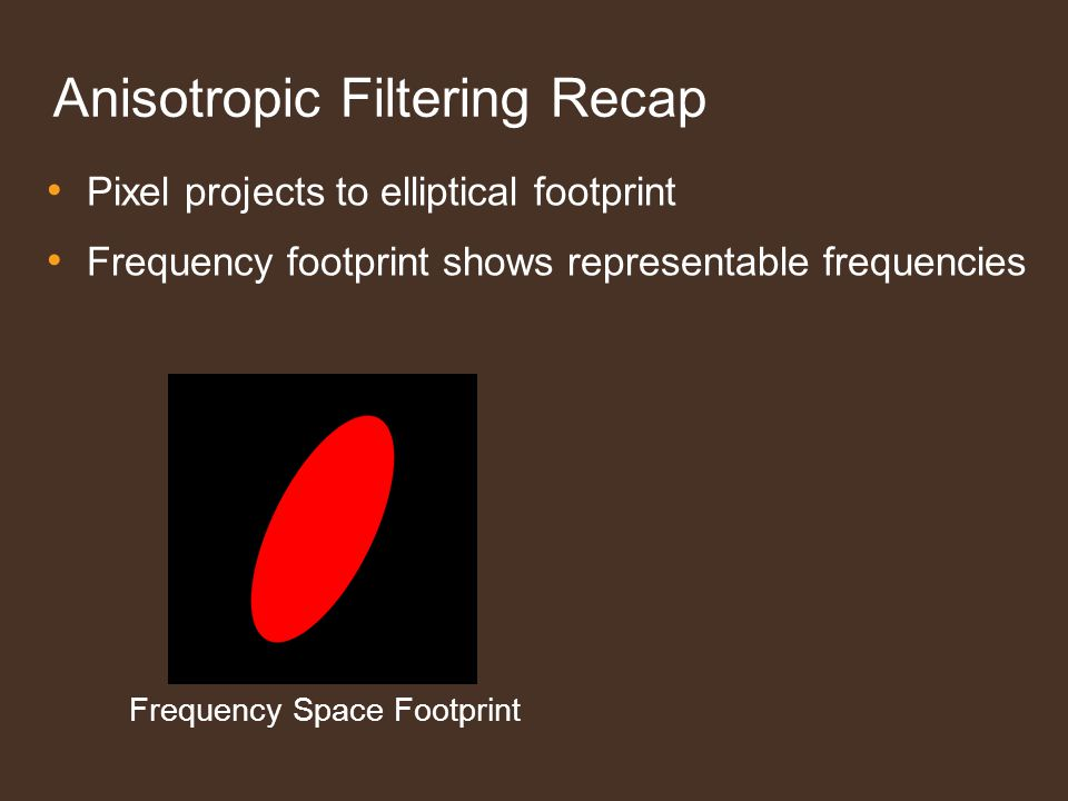 Anisotropic Filtering Recap Pixel projects to elliptical footprint Frequency footprint shows representable frequencies Frequency Space Footprint