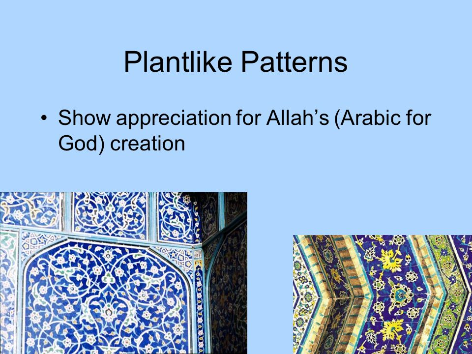 Plantlike Patterns Show appreciation for Allahs (Arabic for God) creation