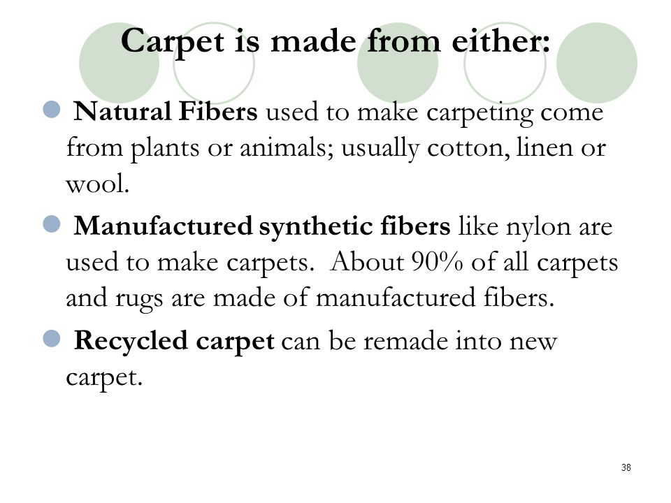 Carpet is made from either: Natural Fibers used to make carpeting come from plants or animals; usually cotton, linen or wool. Manufactured synthetic f
