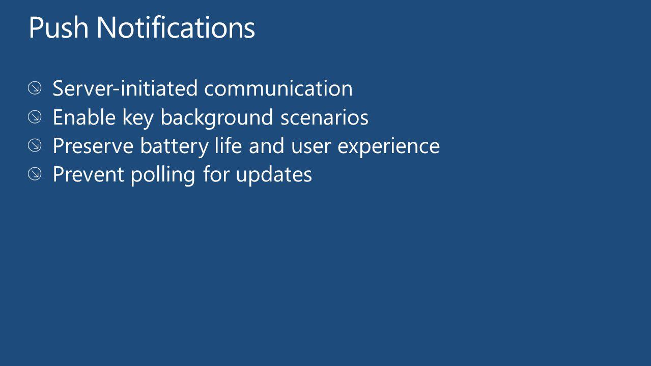 Windows Phone URI to the service: http://notify.live.com/throttledthirdparty/01.00/AAFRQHgiiMWNTYrRDXA HQtz-AgrNpzcDAwAAAAQOMDAwMDAwMDAwMDAwMDA Push enabled applications Notification Service Push endpoint is established.