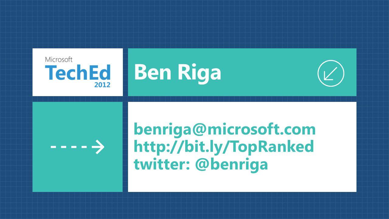 Ben Riga benriga@microsoft.com http://bit.ly/TopRanked twitter: @benriga